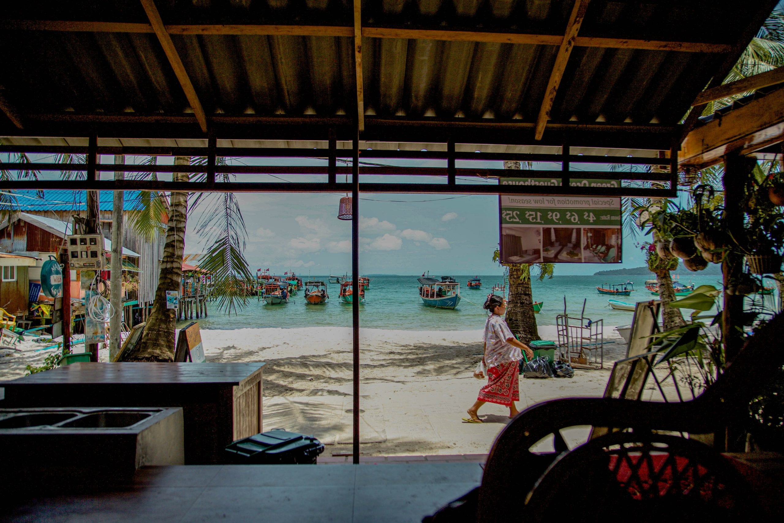 View of the beach inside a cafe on Koh Rong, Cambodia