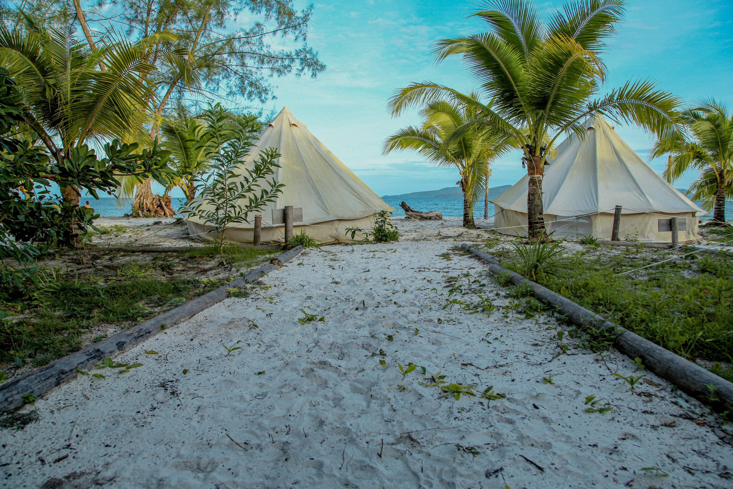 Yurts on the beach in Koh Rong, Cambodia