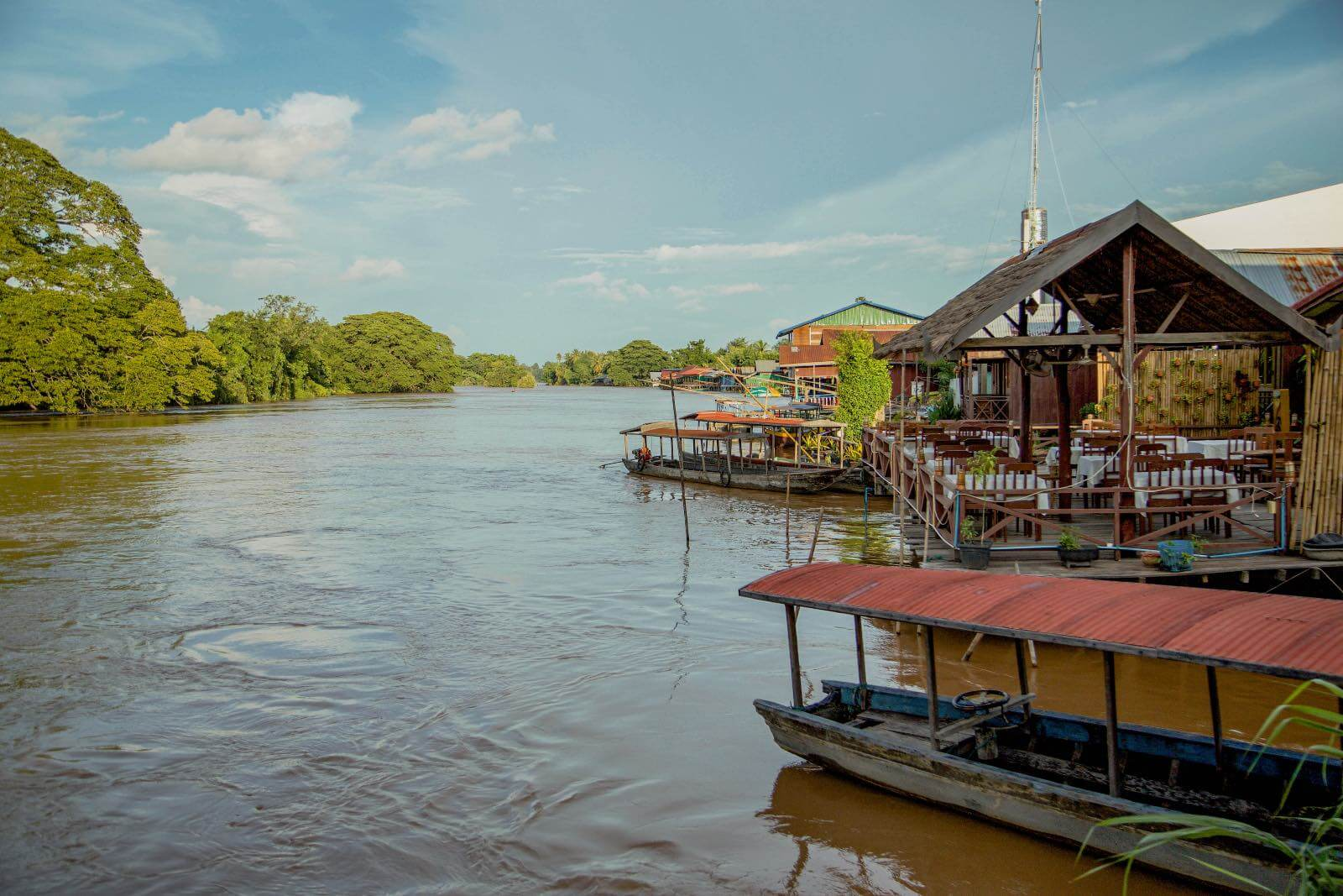 Houses on the water in Don Det, Laos