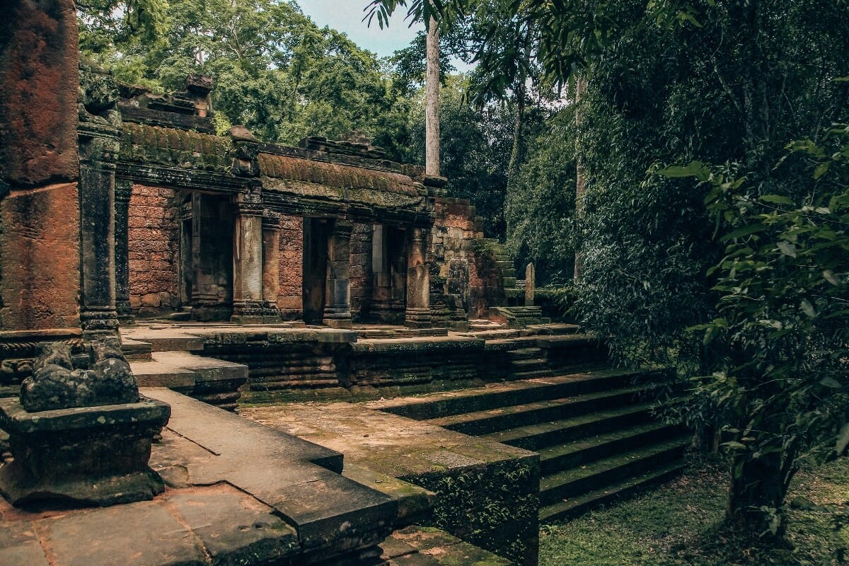 Steps going into a temple at Angkor Wat Cambodia