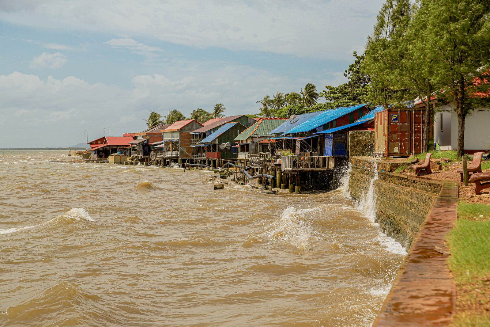 View of the town of Kep, Cambodia on the river