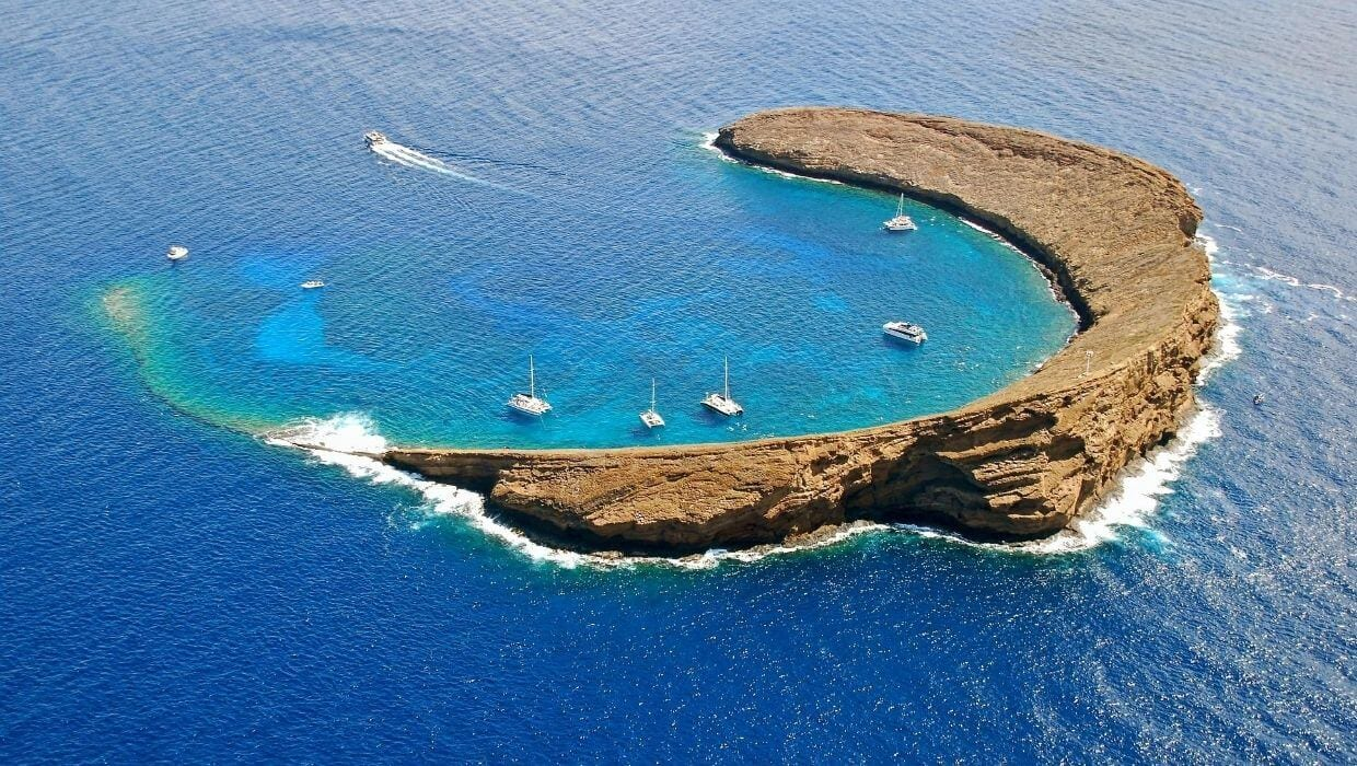 Molokini in Maui view from above