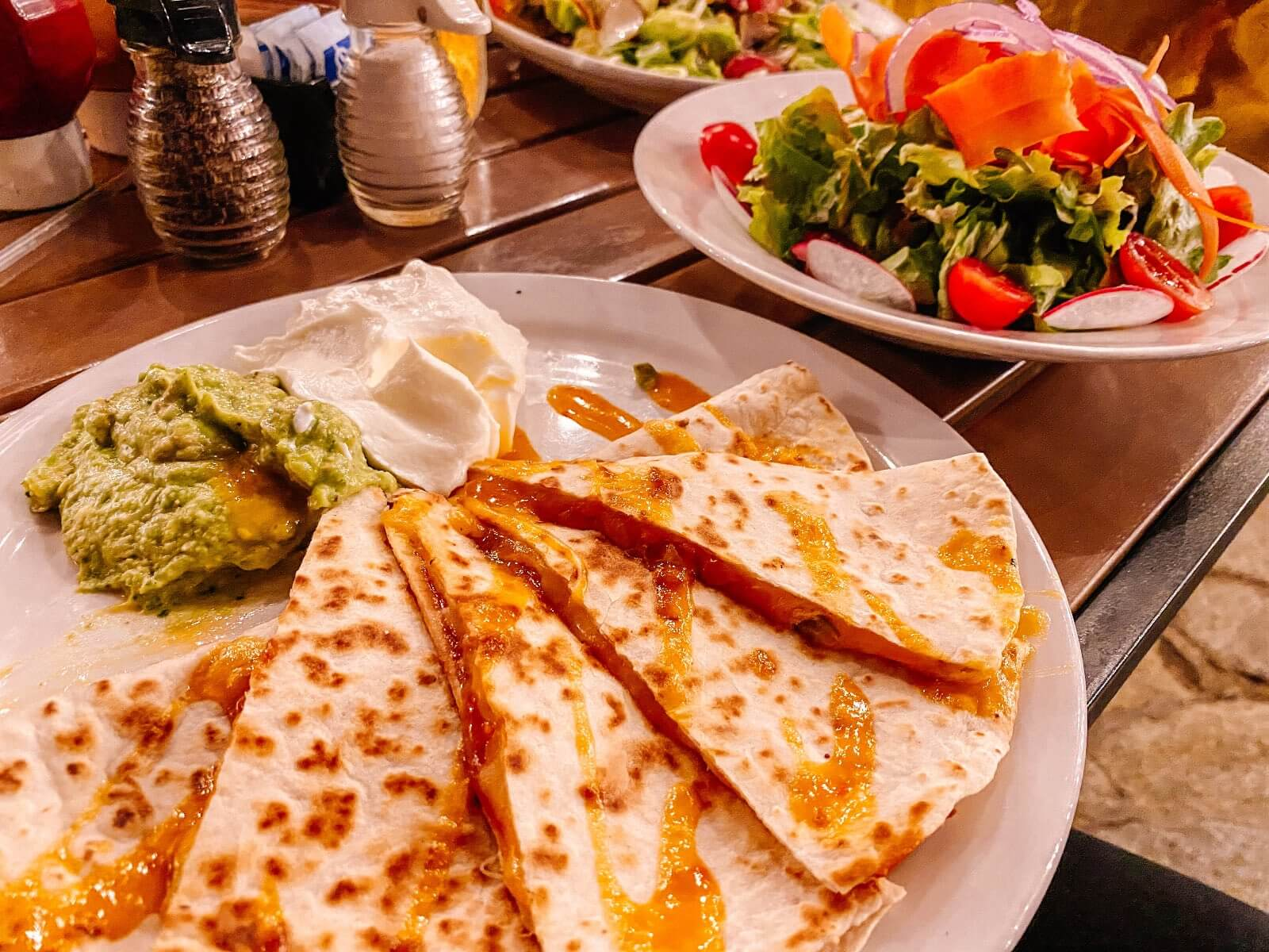 Chicken quesadilla and salad at Hana Ranch restaurant in Hana HI