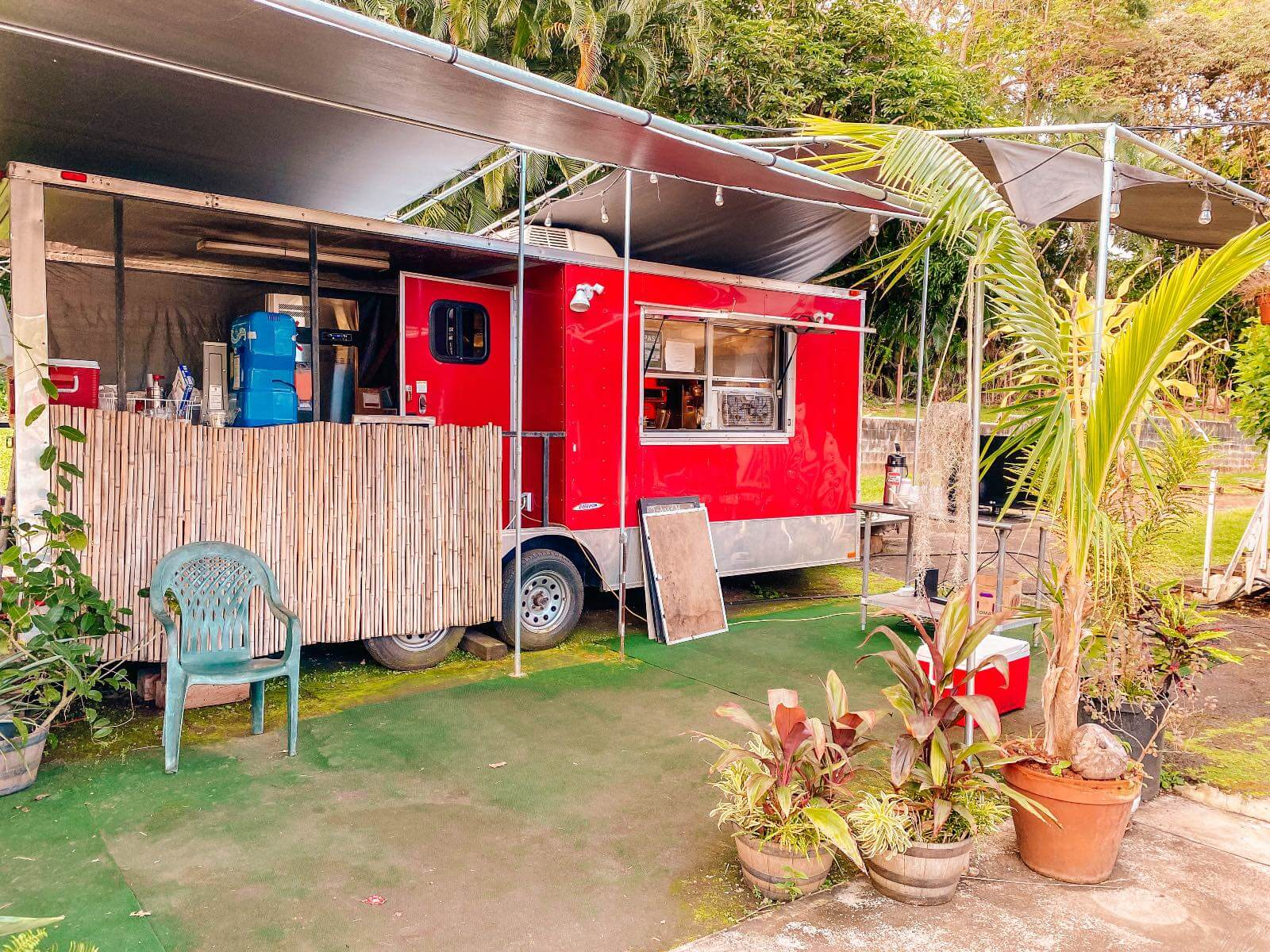Red food truck in Hana Hi, Maui with I'm Jess Traveling