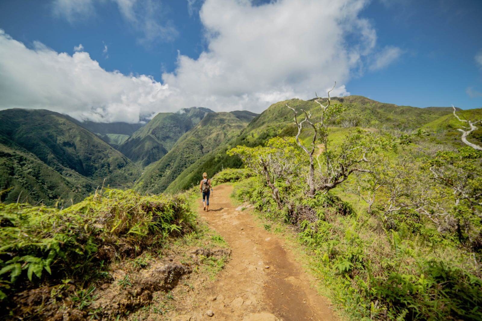A girl hiking on the Waihee Ridge Trail on Maui