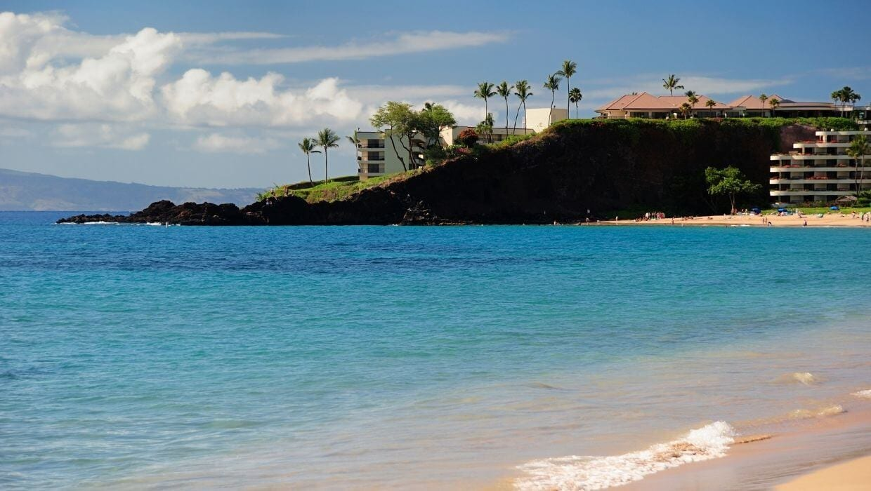 Black rock in Ka'anapali Beach Maui Hi