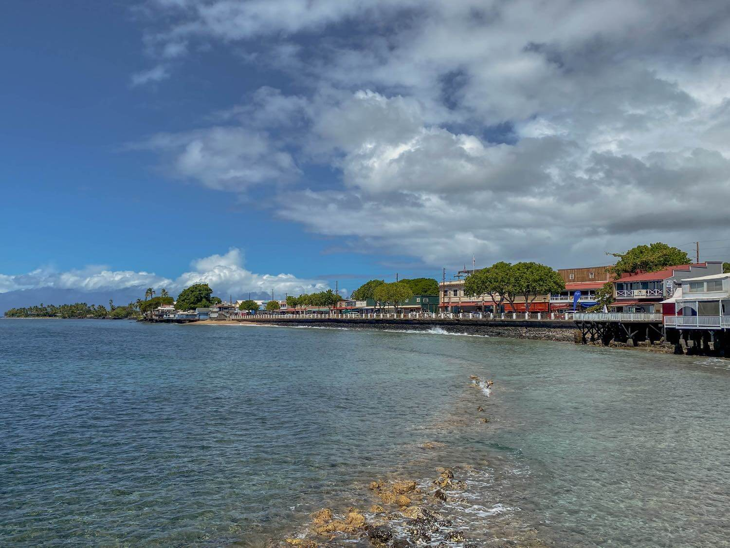 View of Lahaina town in Maui from a distance