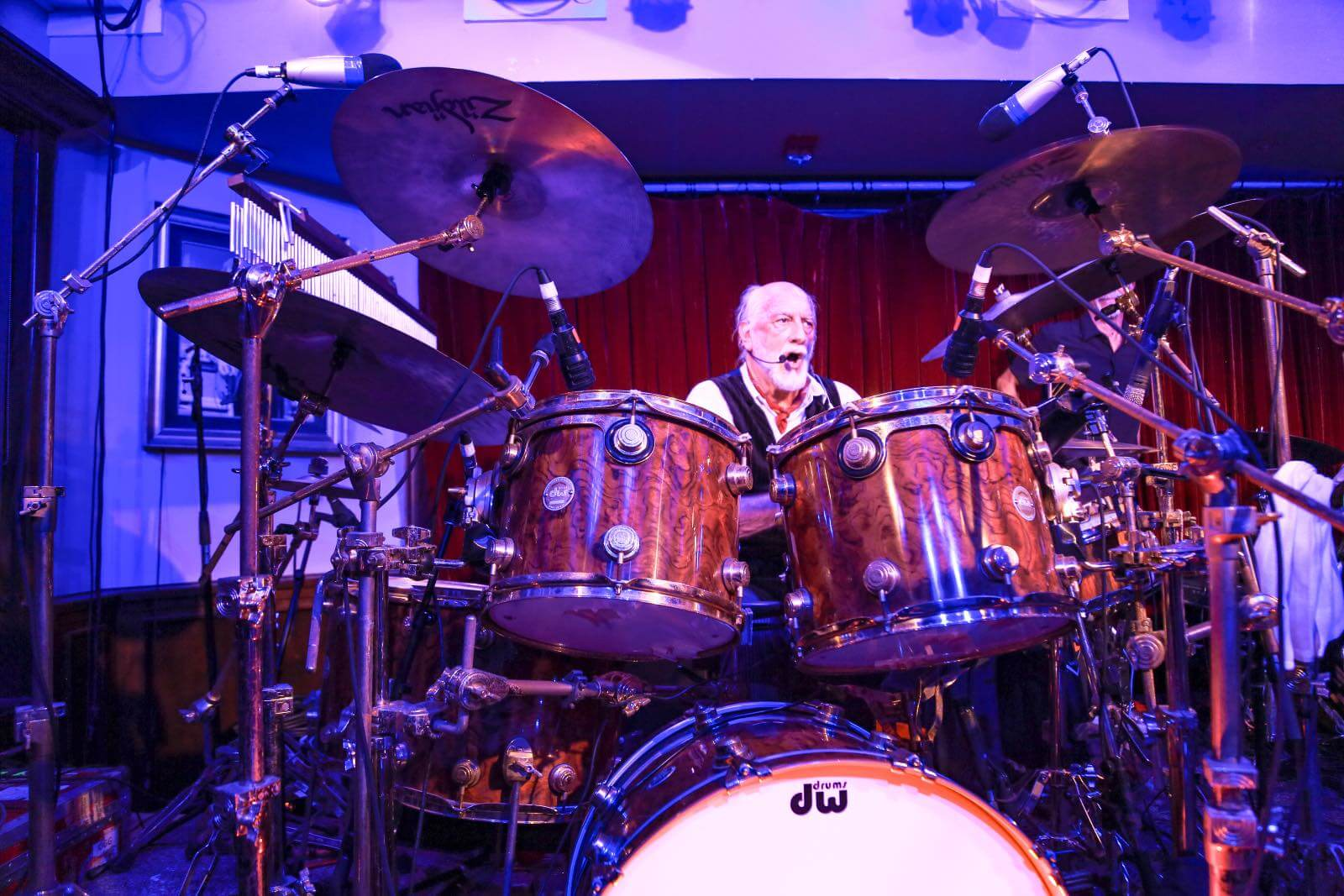 Mick Fleetwood on the drums at Fleetwoods on Front Street