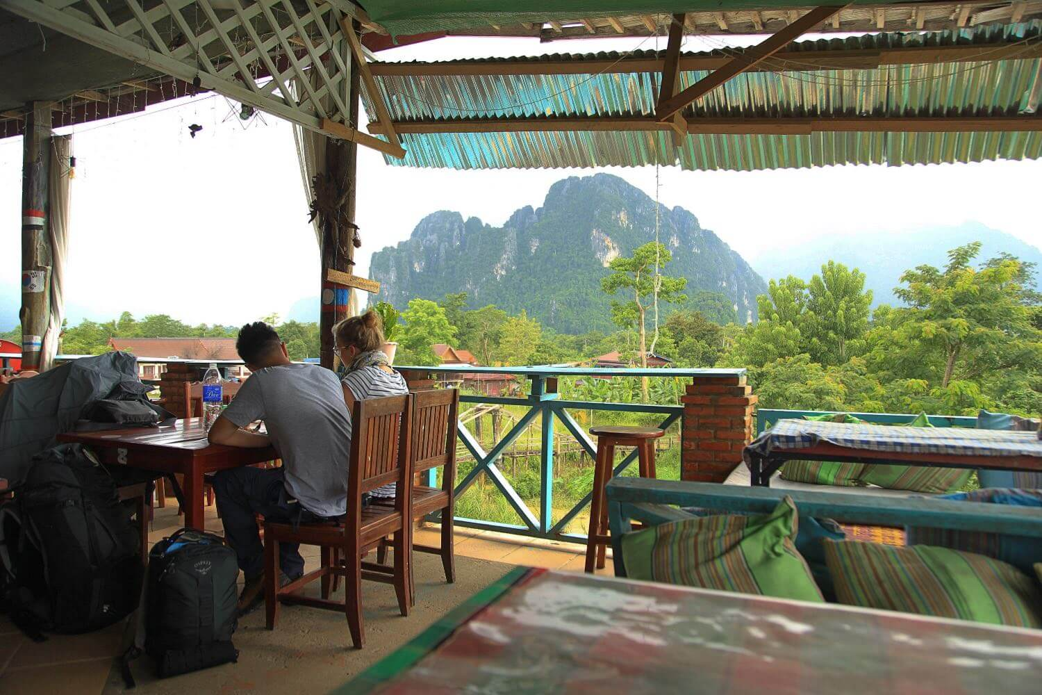 a riverside restaurant in Vang Vieng, Laos