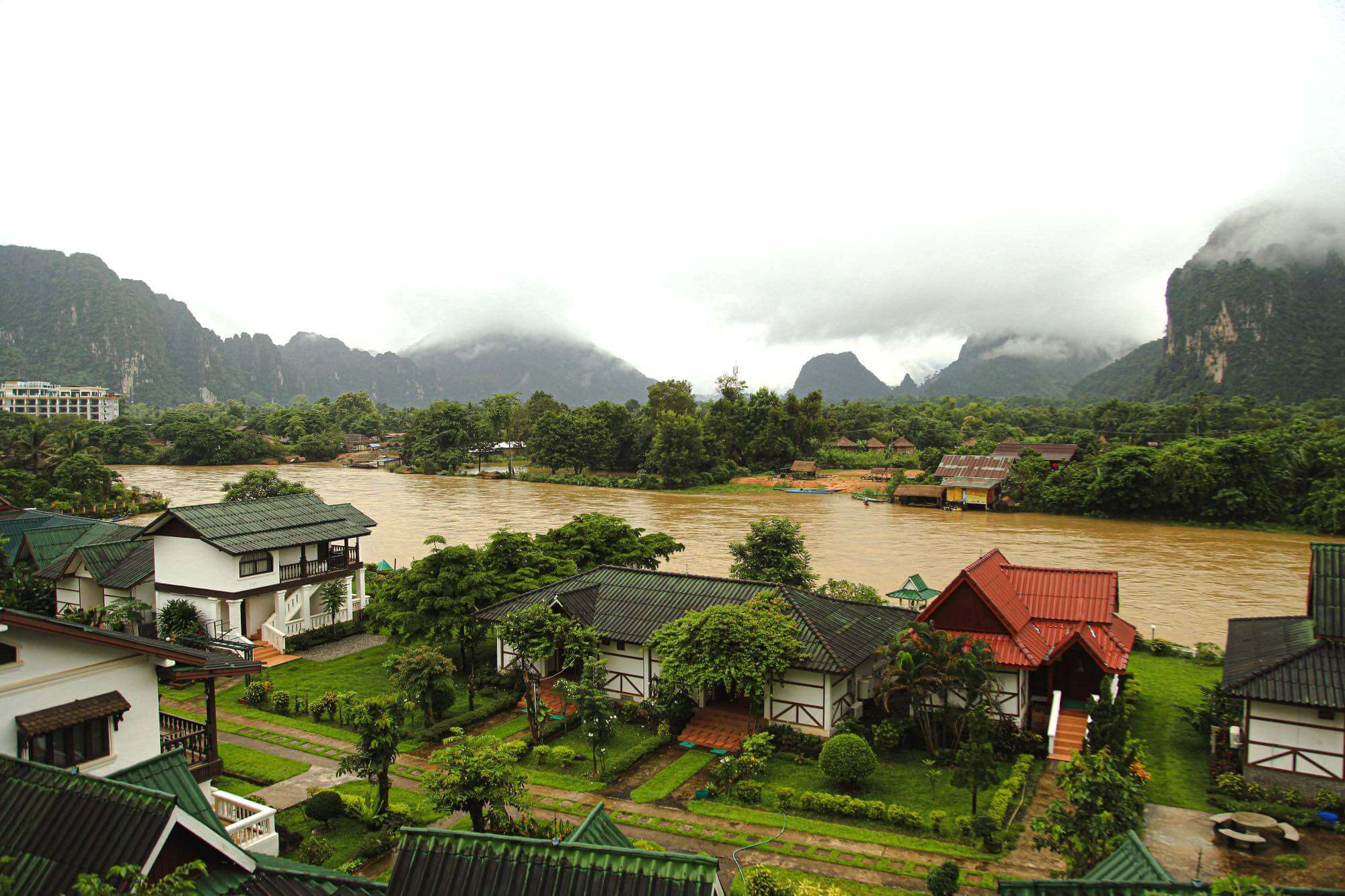 View of the Nam Song river in Vang Vieng Laos