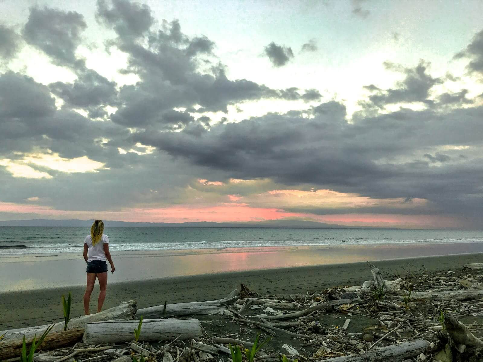 Girl standing on a driftwood beach in Zancudo