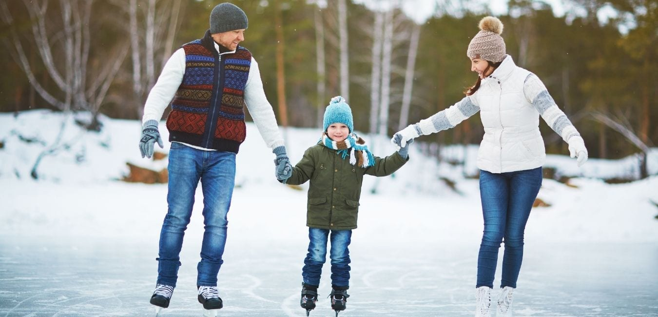 ice skating in the winter with kids