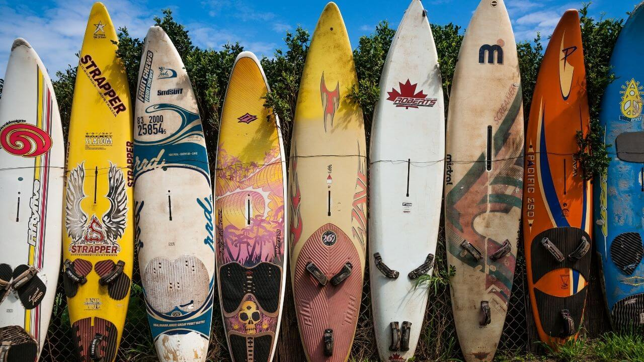 The surfboard wall in Paia
