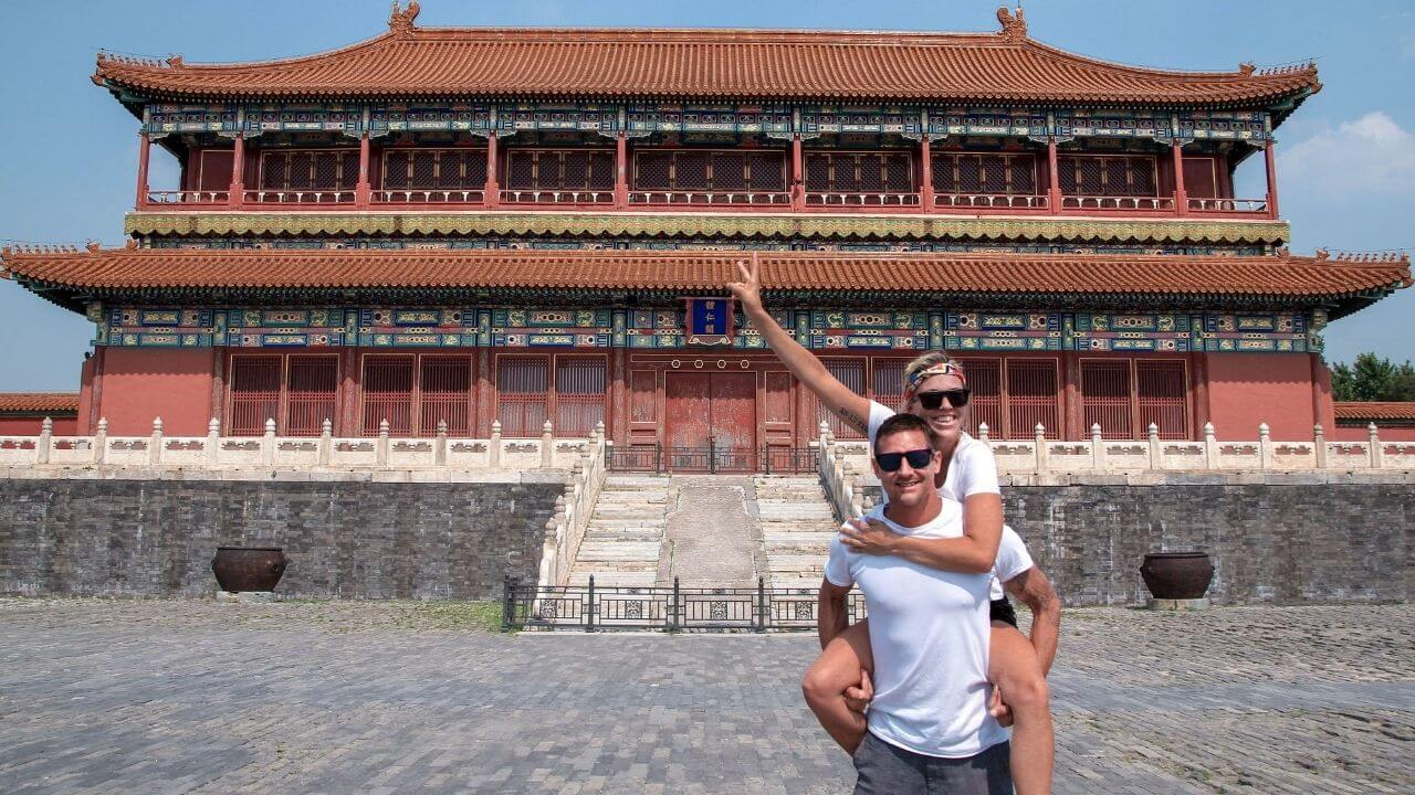 Jess and Joe at the Forbidden City in China