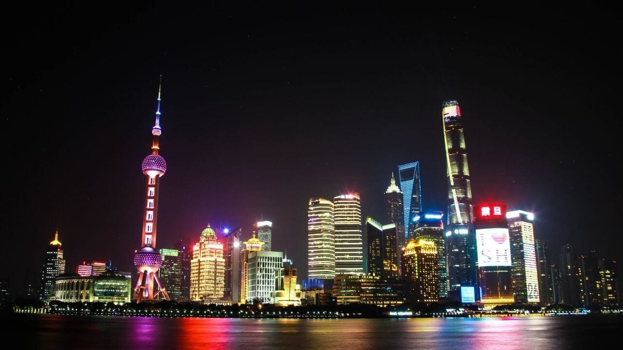 The bund skyline in Shanghai China
