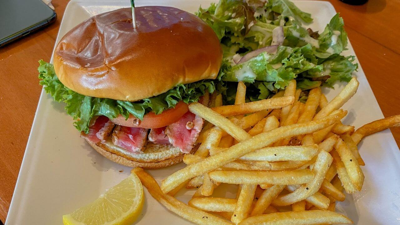 Burger and fries at Cafe Mambo, places to eat in Paia