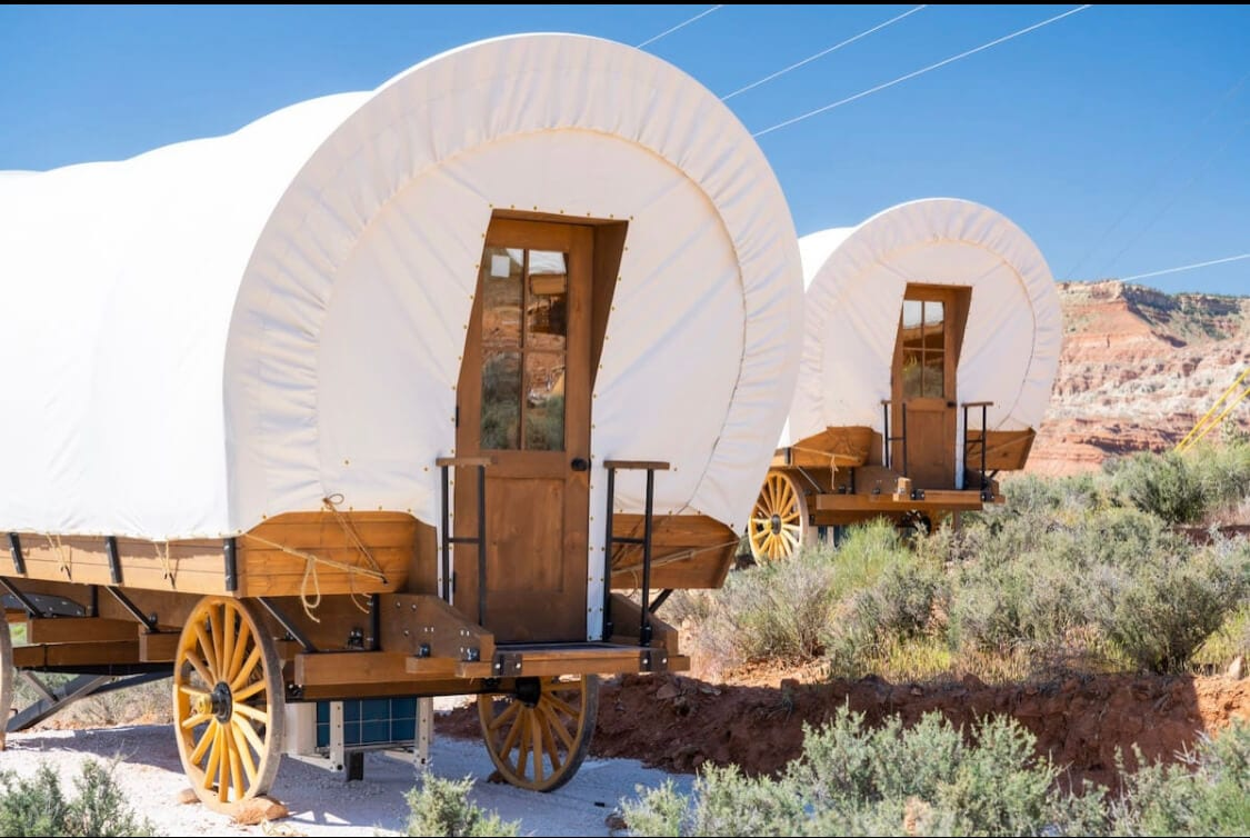 A covered wagon, a unique Utah Airbnbs