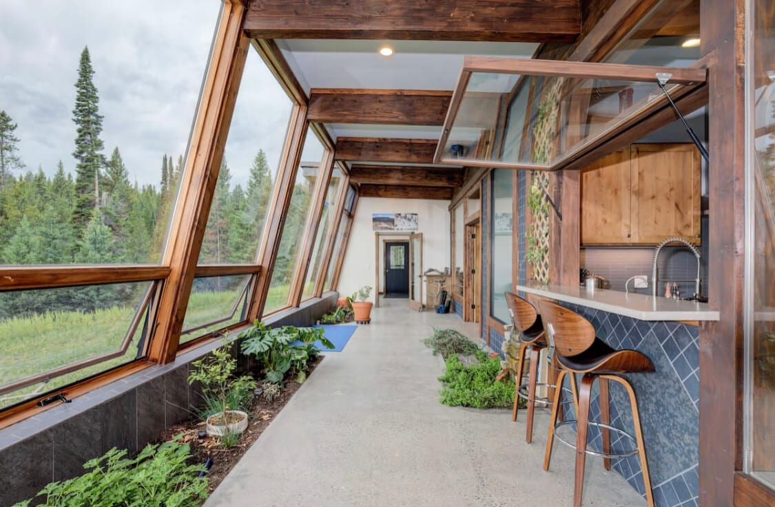 Inside of the Earthship Airbnb