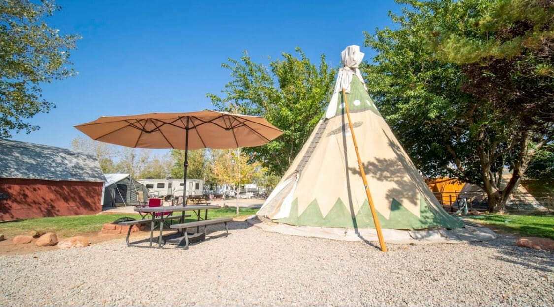 Glamping in a tipi one of the most unique Utah Airbnbs
