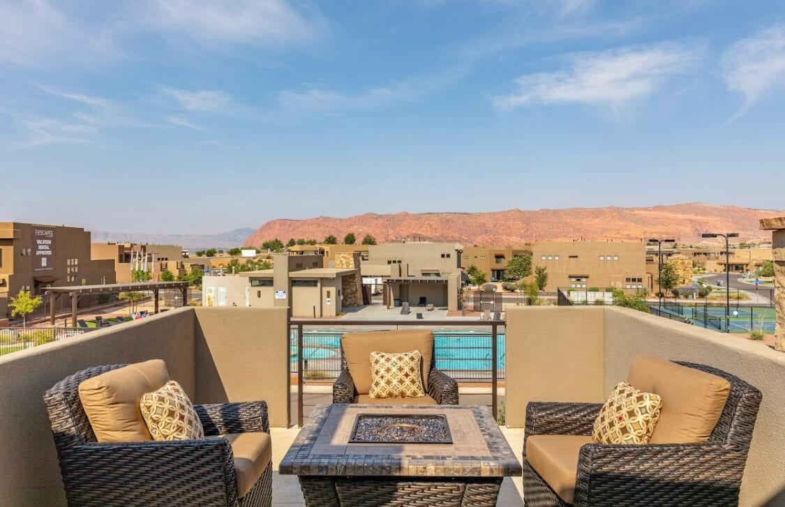 View of the red rocks in St. George from the patio