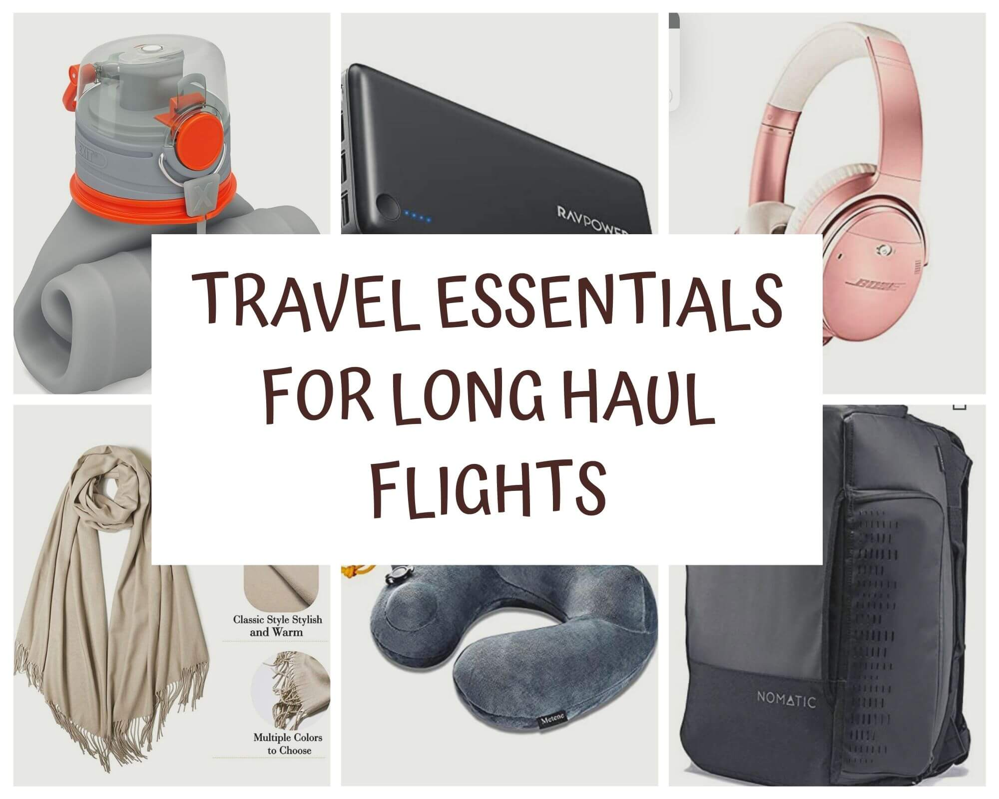 Travel essentials for a long haul flight with I'm Jess Traveling